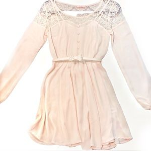 Candies pink Lacey dress bow detail belt small